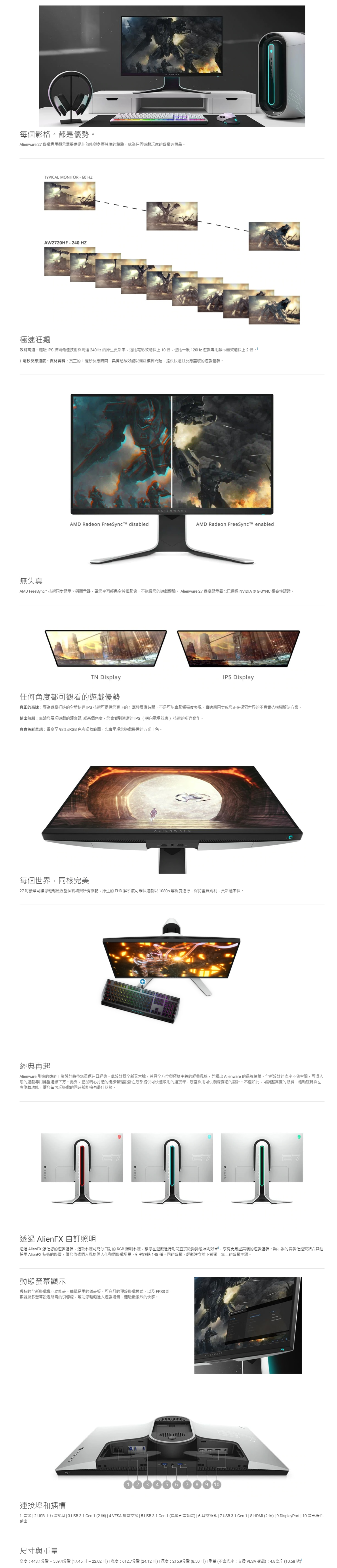 DELL 戴爾 AW2720HF 顯示屏